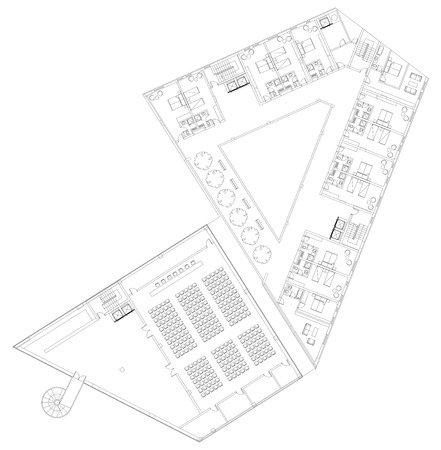 Modern Hotel Floor Architectural Plan Blueprint