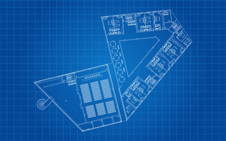 Modern Hotel Floor Architectural Plan Blueprint Vector