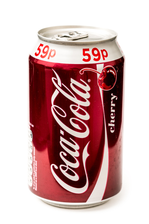 BUCHAREST, ROMANIA - JANUARY 23, 2014  330ml Coca-Cola Cherry Bottle Can Isolated On White Background  Coca-Cola is a carbonated soft drink sold in stores, restaurants, and vending machines around the world