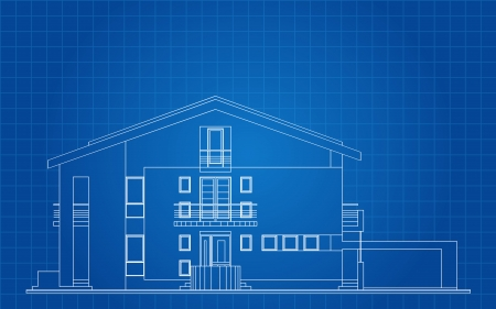 family outside house: Modern American House Facade Architectural Blueprint