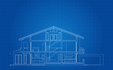 family outside house: Modern American House Facade Section Architectural Blueprint