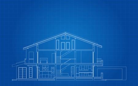 Moderne Amerikaanse Huisvoorzijde Sectie Architecturale Blauwdruk