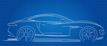Sports Car Sketch Blueprint Vector