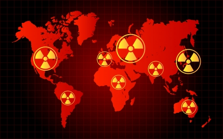 World Map Nuclear Waste Radioactive Hazard Zone Stock Vector - 25440551