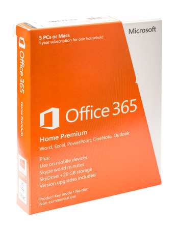 microsoft: BUCHAREST, ROMANIA - JANUARY 26, 2014  Microsoft Office 365 Retail Box On White Background  It is a subscription based online office and software plus services suite built around Microsoft Office  Editorial