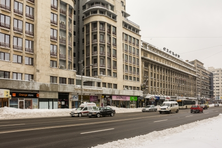 bucharest: BUCHAREST, ROMANIA - JANUARY 27  Winter Snow On Gheorghe Magheru Boulevard on January 27, 2014 in Bucharest, Romania  Situated downtown is one of the most expensive commercial streets in the world