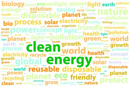 clean energy: Clean Friendly Environment Energy Word Cloud Concept