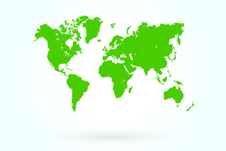 Green World Map With Shadow On Blueish Background Vector