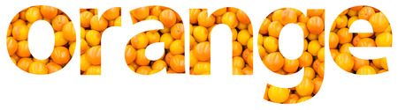 word collage: Orange Color Abstract With Oranges Isolated On White