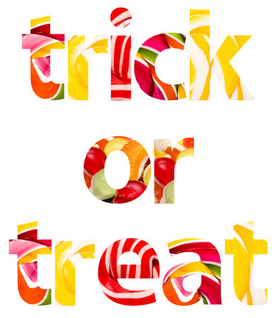 Trick Or Treat Halloween Words Abstract Isolated photo