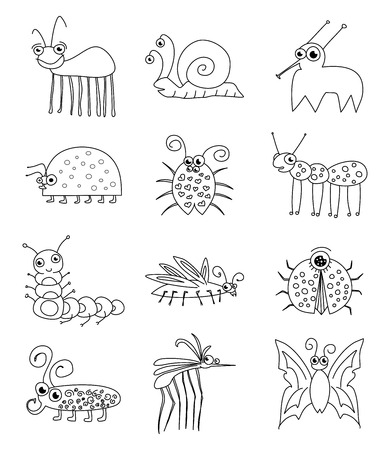 Funny Insect Bugs Doodle Set Vector Vector