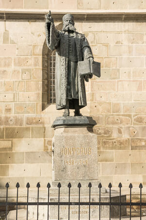 humanist: Johannes Honterus Statue in Brasov, Romania  He was a renaissance humanist and theologian and he implemented the Lutheran reform in Transylvania  Stock Photo