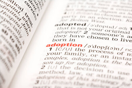 adopting: Adoption Word Definition In Dictionary Stock Photo