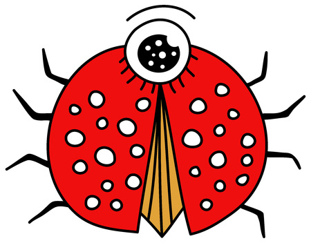 mariquita cartoon: Ladybug Cartoon Aislado En Blanco Ilustraci�n