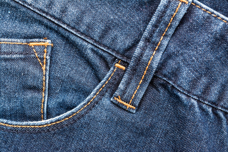 Blue Denim Jeans Pocket Close Up Details photo
