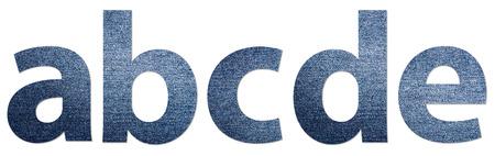 denim jeans: Denim Jeans Texture Alphabet Letters A-E