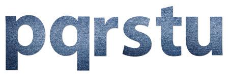 denim jeans: Denim Jeans Texture Alphabet Letters P-U