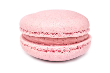 Pink French Macaroon Isolated On White photo
