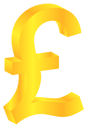 British Pound Gold Currency Sign Isolated On White Vector