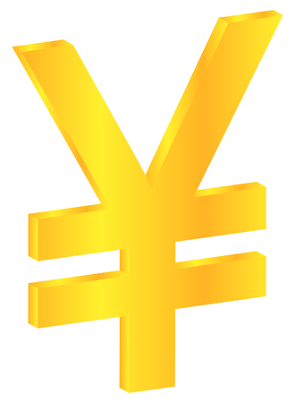Japanese Gold Yen Currency Sign Isolated On White Vector