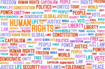 capitalismo: Direitos Humanos Word Cloud Concept Ilustra Ilustração