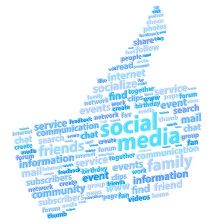 Social Media Thumb Up Word Cloud Concept Vector Illustration Vector