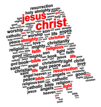 baptist: Jesus Christ Abstract Portrait 3D Word Cloud Concept Vector Illustration