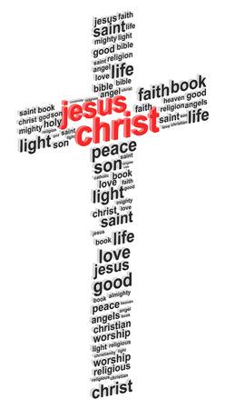 Gesù Cristo astratta Croce 3D Word Cloud Concetto Vector