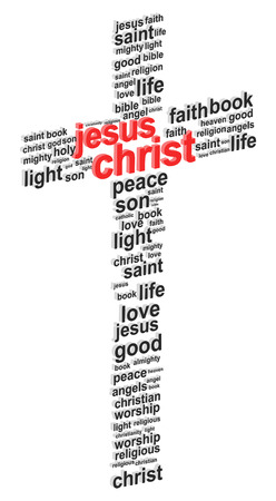 jesus word: Jesus Christ Abstract Cross 3D Word Cloud Concept Vector