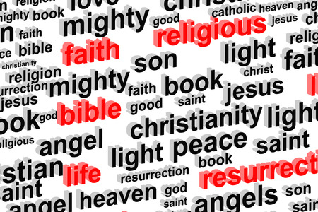 almighty: Religion Word Cloud Concept Illustration Stock Photo
