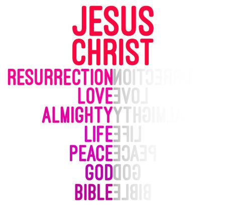faith hope love: Jesus Christ Word Cloud Concept Vector Illustration