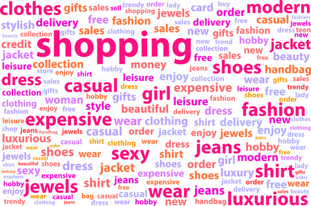 Shopping Word Cloud Concept Illustration Vector