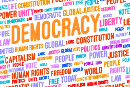 Democracy Word Cloud 3D Concept Illustration Stock Photo