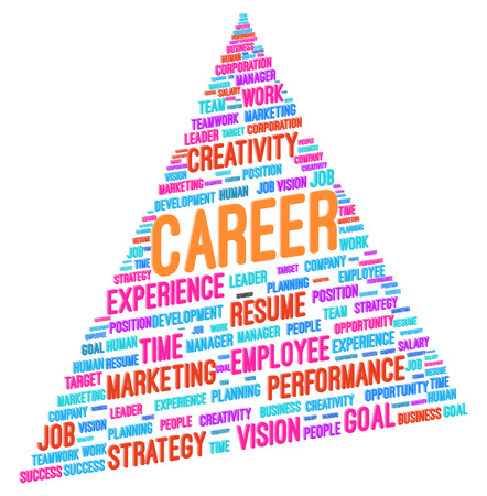 work experience: Advancing To The Top Of The Pyramid In Career Word Cloud Vector