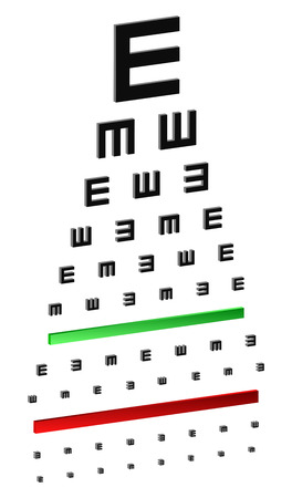 eye exam: 3D Classic Eye Chart Test For Young Children Or People With Disabilities Illustration