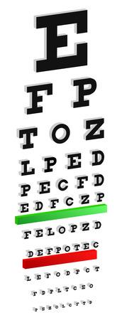 snellen: Classic 3D Snellen Eye Chart Test For Vision Disorders Illustration