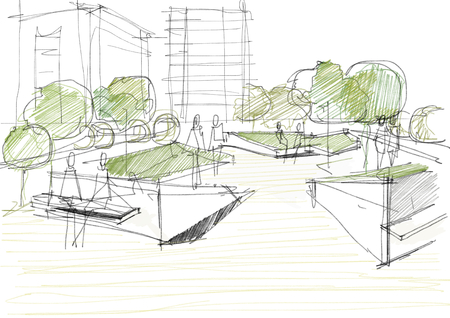 building sketch: Public Park With People Architectural Sketch Illustration