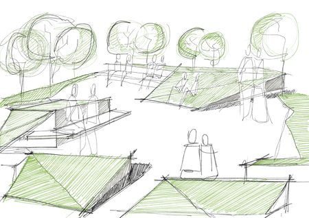 Public Park With People Architectural Sketch Illustration illustration