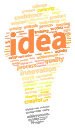 bright light: Bright Light Bulb Idea Word Cloud Concept Illustration