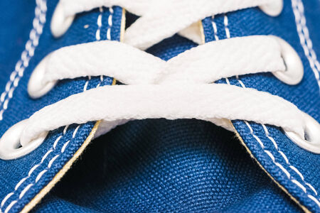 lacing sneakers: Blue Sneakers Shoe Laces Close Up Details