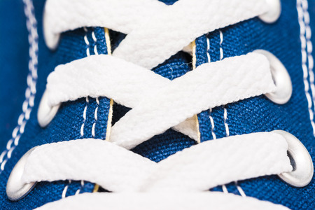lacing sneakers: Blue Sneakers Shoe Laces Close Up Details