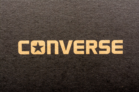 converse: BUCHAREST, ROMANIA - MARCH 16, 2014  All Star Converse Sign On Retro Converse Sneakers Box  Founded in 1908 is an American lifestyle company with a production output of shoes and lifestyle fashion