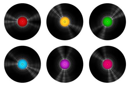 Vintage Vinyl Records gezet op een witte Vector Illustratie