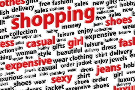 fashion week: Shopping Spree Word Cloud Vector Illustration