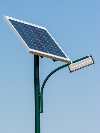 powered: Modern Public Light Post Powered By Solar Energy Stock Photo