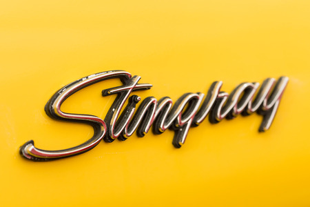stingray: BUCHAREST, ROMANIA - APRIL 04, 2014  1971 Corvette Stingray Sign Close Up  The Corvette Stingray was a privately funded concept car that formed a basis for the second generation Corvette Sting Ray