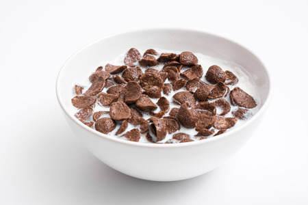 Breakfast Chocolate Cornflakes Cereal Bowl Close Up Imagens - 27487646