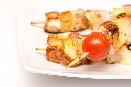 Hawaiian Skewers On Plate Close Up photo