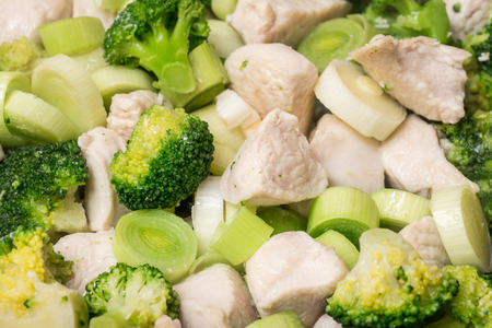 chicken meat: Broccoli And Chicken Meat In Frying Pan