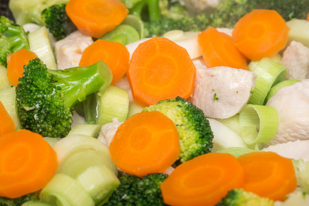 chicken meat: Broccoli, Carrots And Chicken Meat In Frying Pan